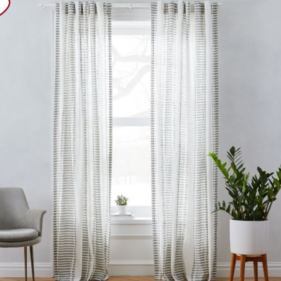 West Elm Other - West Elm Striped Ikat Curtains Platinum